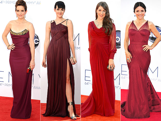 BURGUNDY GOWNS photo | Jena Malone, Julia Louis-Dreyfus, Mayim Bialik, Tina Fey