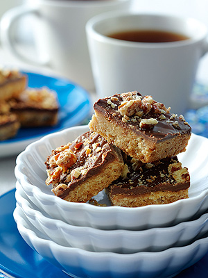 Shortbread with Chocolate & Candied Walnuts