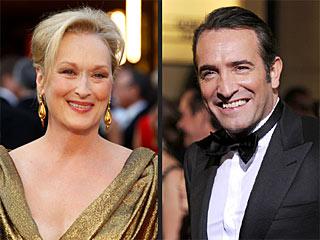 Oscar Embraces The Artist, Jean Dujardin & Meryl Streep | Jean Dujardin, Meryl Streep