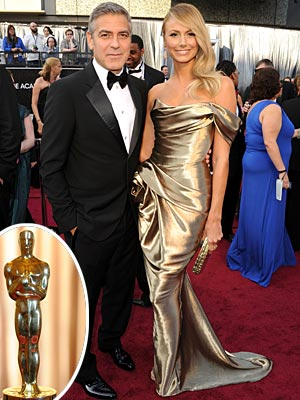 Academy Awards 2012: George Clooney Brings Stacy Keibler in Gold Marchesa