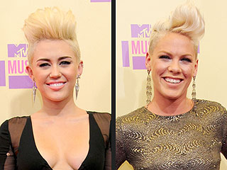 POLL: Did Miley or Pink Rock the Best Blonde &#39;Hawk at the VMAs? | Miley Cyrus, Pink