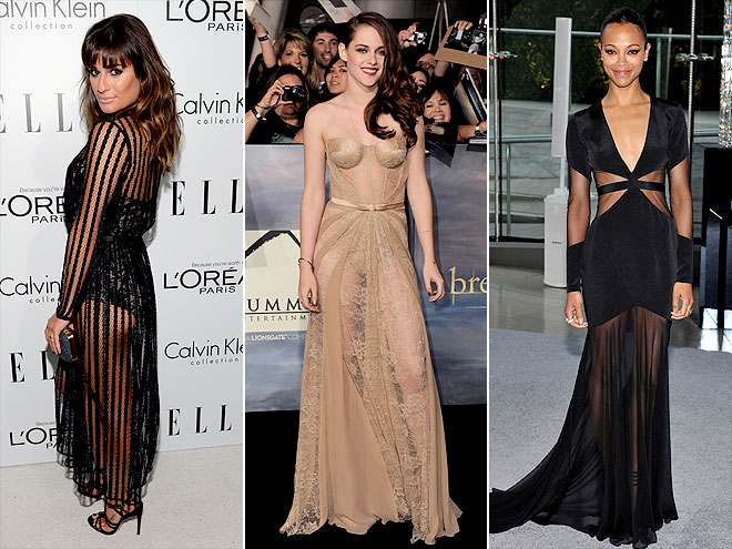 SEXIEST RED CARPET STYLE: SHEER GOWNS photo | Kristen Stewart, Lea Michele, Zoe Saldana