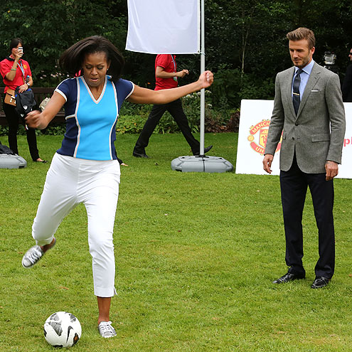 JUST KICKIN' IT photo | David Beckham, Michelle Obama