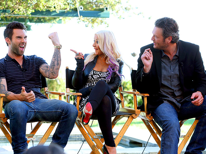 WHAT A RIOT photo | Adam Levine, Blake Shelton, Christina Aguilera