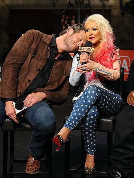 LOVE SEAT photo | Blake Shelton, Christina Aguilera