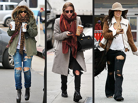 Vanessa Hudgens, Ashley Olsen Wear Ripped Jeans