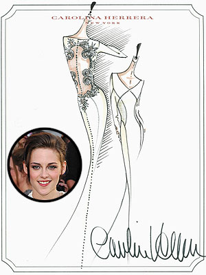 kristen stewart 300x400 Carolina Herrera: Kristen Stewart Was 'Moved' by the 'Breaking Dawn' Wedding Dress