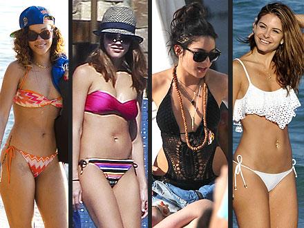 Rihanna, Jessica Alba in Bikinis