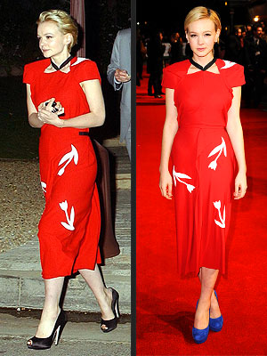 carey mulligan 300x400 Seeing Double: Carey Mulligan Tries the Same Dress Twice