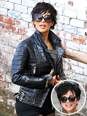 kim kardashian 300x400 Kim Kardashian Channels Mom Kris Jenner in Short Wig