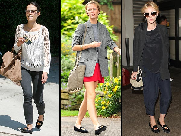 carey mulligan 600x450 Foxy Ladies! Stars Are Loving Tory Burch's Fox Loafers
