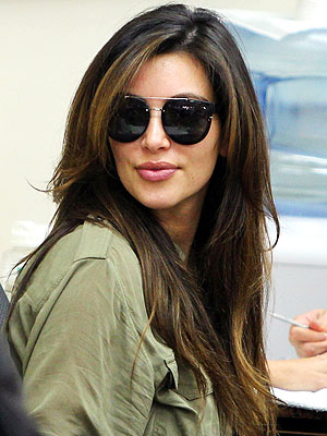 kim kardashian 300x400 Sweet! Kim Kardashian Debuts Chocolate Brown Hair Color