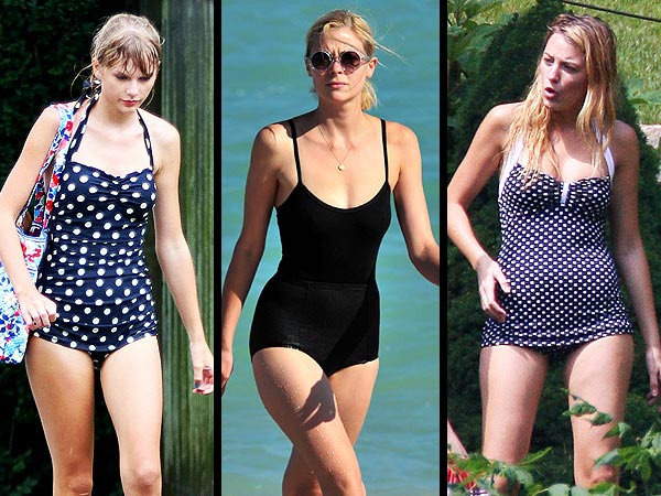 taylor swift 600x450 Granny Style Bathing Suits: Love Em or Leave Em?