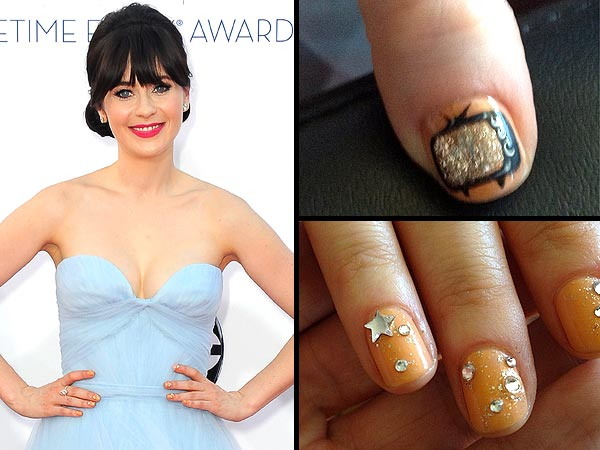 zooey deschanel 1 600x450 How to Get Zooey Deschanels Adorkable Emmys Nails