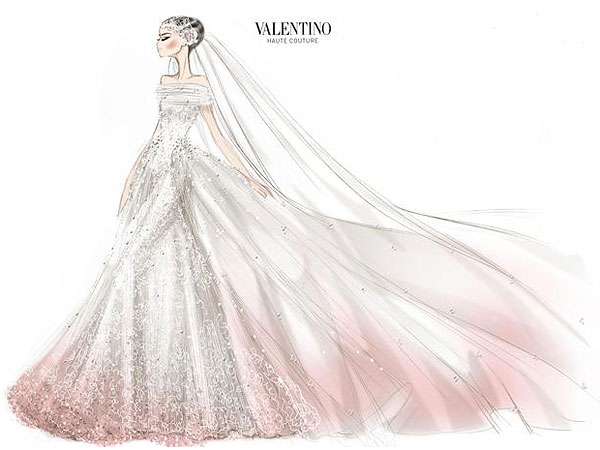 valentino 600x450 Anne Hathaway Valentino Wedding Dress, Married Adam Shulman