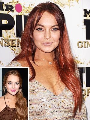 Lindsay Lohan Dark Red Hair