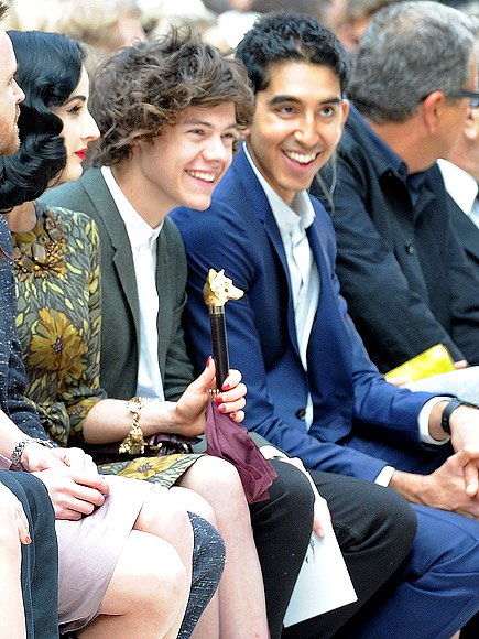 BURBERRY PRORSUM FRONT ROW photo | Dev Patel, Dita Von Teese, Harry Styles