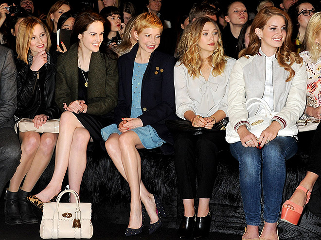 MULBERRY FRONT ROW photo | Elizabeth Olsen, Lana Del Rey, Laura Carmichael, Michelle Dockery, Michelle Williams