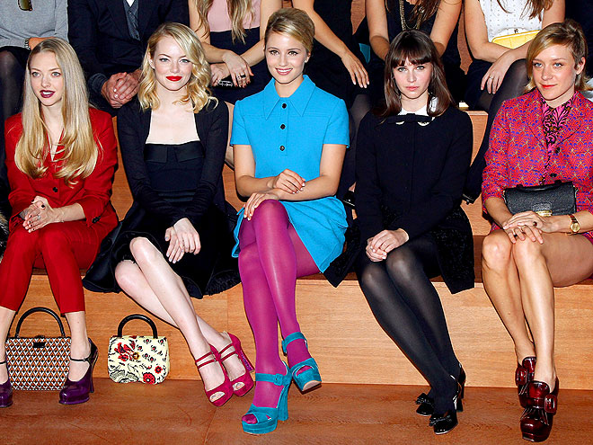 MIU MIU FRONT ROW photo | Amanda Seyfried, Chlo\u00EB Sevigny, Dianna Agron, Emma Stone, Felicity Jones