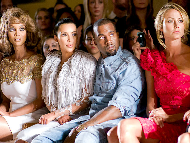 MARCHESA FRONT ROW photo | Kanye West, Kim Kardashian, Stacy Keibler, Tyra Banks