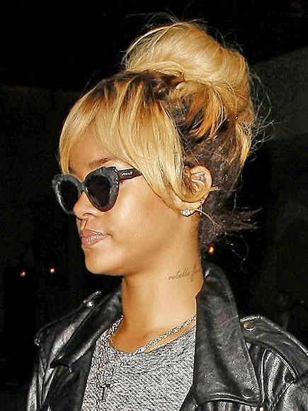 Rihanna Hairstyles Bun and Bangs