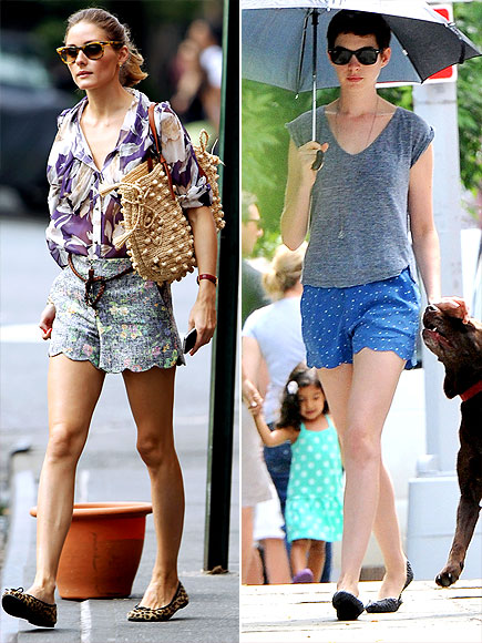 SCALLOPED SHORTS photo | Anne Hathaway, Olivia Palermo