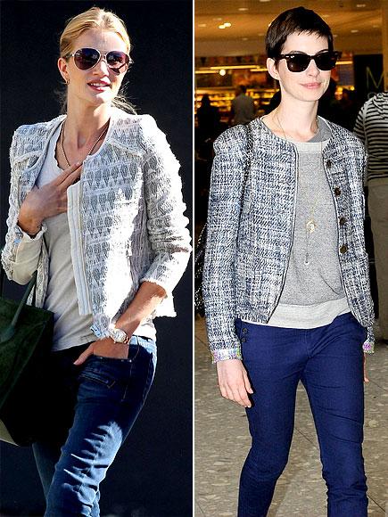 TWEED WITH JEANS photo | Anne Hathaway, Rosie Huntington-Whiteley