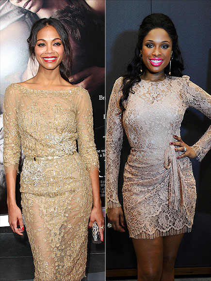 GOLD LACE DRESSES photo | Jennifer Hudson, Zoe Saldana
