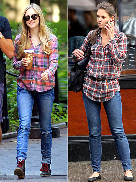 PLAID BUTTON-UPS photo | Amanda Seyfried, Katie Holmes