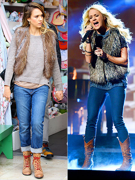 FUR VESTS photo | Carrie Underwood, Jessica Alba