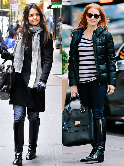 PATENT BOOTS photo | Jessica Chastain, Katie Holmes