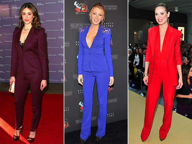PLUNGING, COLORFUL SUITS photo | Blake Lively, Emmy Rossum, Heidi Klum