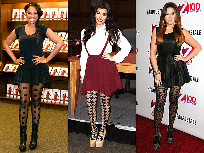 BOLD-PATTERNED TIGHTS photo | Jennifer Hudson, Khloe Kardashian, Kourtney Kardashian