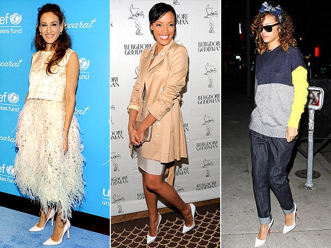 POINTY WHITE PUMPS photo | Rihanna, Sarah Jessica Parker, Selita Ebanks