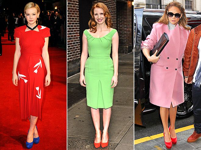 CONTRASTING SHOES photo | Carey Mulligan, Jennifer Lopez, Jessica Chastain
