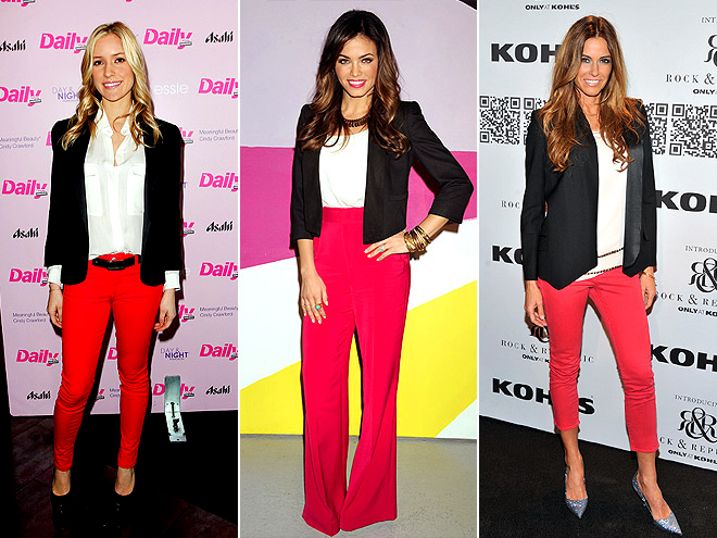 RED PANTS WITH BLACK BLAZERS photo | Jenna Dewan, Kelly Bensimon, Kristin Cavallari
