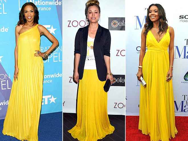 YELLOW PLEATED MAXIS photo | Gabrielle Union, Kaley Cuoco, Michelle Williams (Musician)