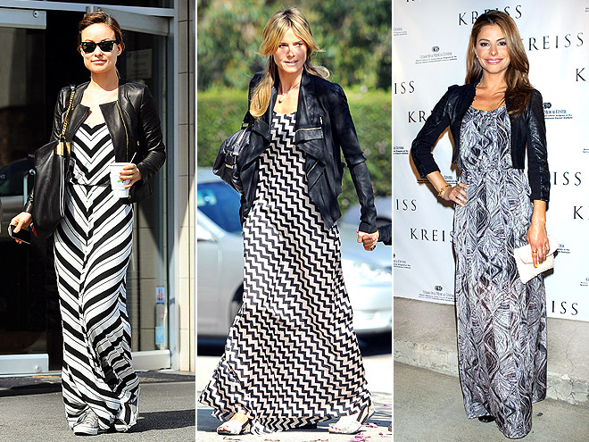 GRAPHIC MAXIS WITH MOTO JACKETS photo | Heidi Klum, Maria Menounos, Olivia Wilde