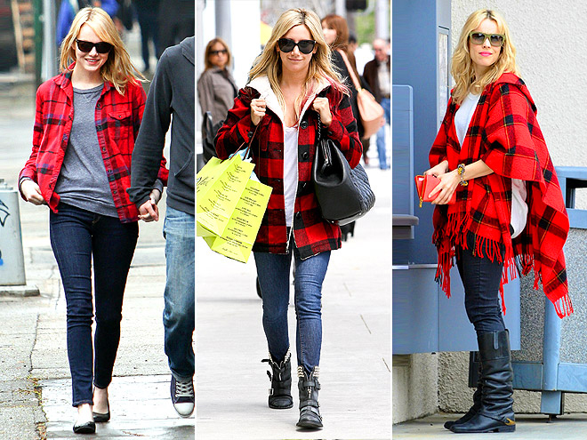RED PLAID JACKETS photo | Ashley Tisdale, Emma Stone, Rachel McAdams