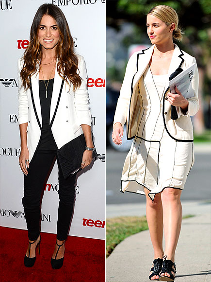 WHITE BLAZERS WITH BLACK PIPING photo | Dianna Agron, Nikki Reed