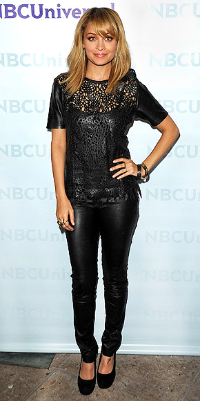 NICOLE RICHIE'S LEATHER TEE photo | Nicole Richie