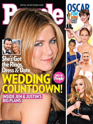 photo | Couples, Academy Awards, Oscars 2013, Jennifer Aniston Cover, Adele, Anne Hathaway, Charlize Theron, Jennifer Aniston, Jennifer Lawrence, Justin Theroux