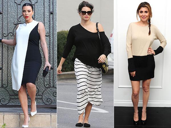 Kim Kardashian Jenna Dewan-Tatum Jamie-Lynn Sigler Black and White Maternity 1 Trend 3 Ways