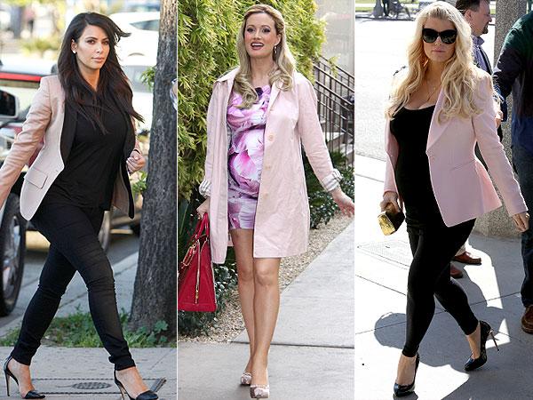 Kim Kardashian Jessica Simpson Holly Madison Blush Colored Maternity Jackets 1 Trend 3 Ways