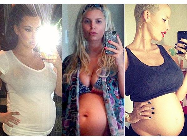 Kim Kardashian Jessica Simpson Amber Rose Pregnant Belly Photos Bumpies