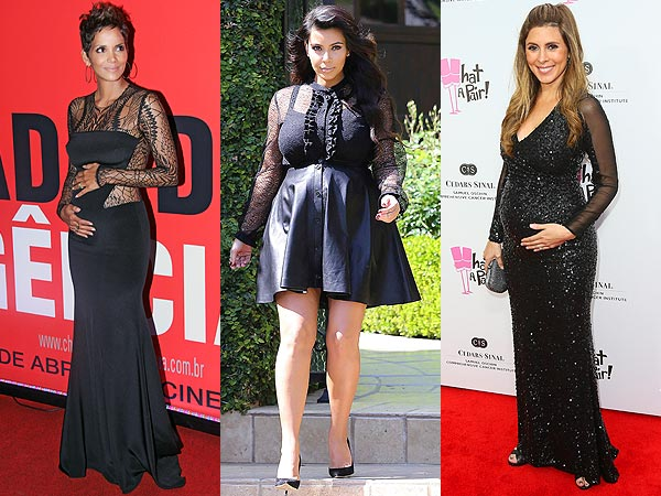 Halle Berry Kim Kardashian Jamie-Lynn Sigler Black Sheer Sleeve Dresses