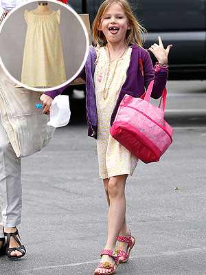 Jennifer Garner Daughter Violet Wearing Yellow Mini Boden Pimrose Dress