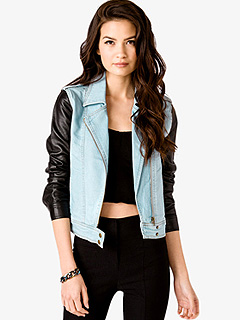 Forever 21 Faux Leather Sleeves Moto Jacket