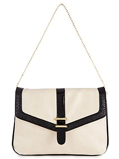 Wallis Fashion Cream and Black Shoulder Bag