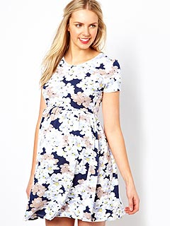 ASOS Maternity Skater Dress in Pansy Floral Print